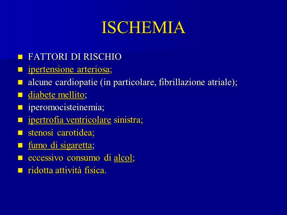 ISCHEMIA FATTORI DI RISCHIO FATTORI DI RISCHIO ipertensione arteriosa; ipertensione arteriosa; ipertensione arteriosa ipertensione arteriosa alcune ca