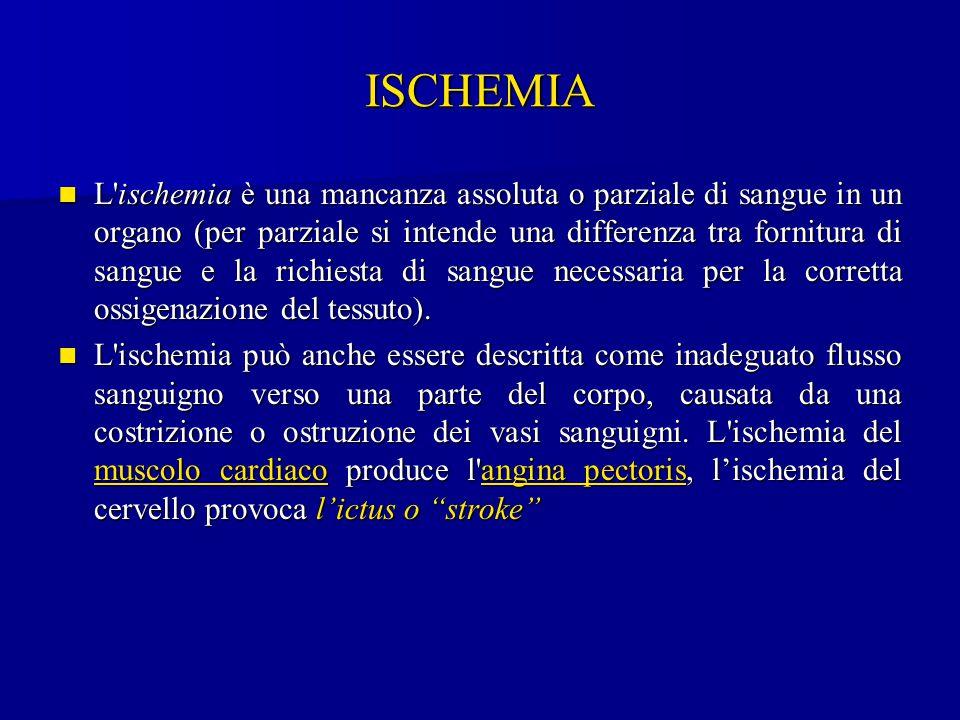 ISCHEMIA L'ischemia è una mancanza assoluta o parziale di sangue in un organo (per parziale si intende una differenza tra fornitura di sangue e la ric