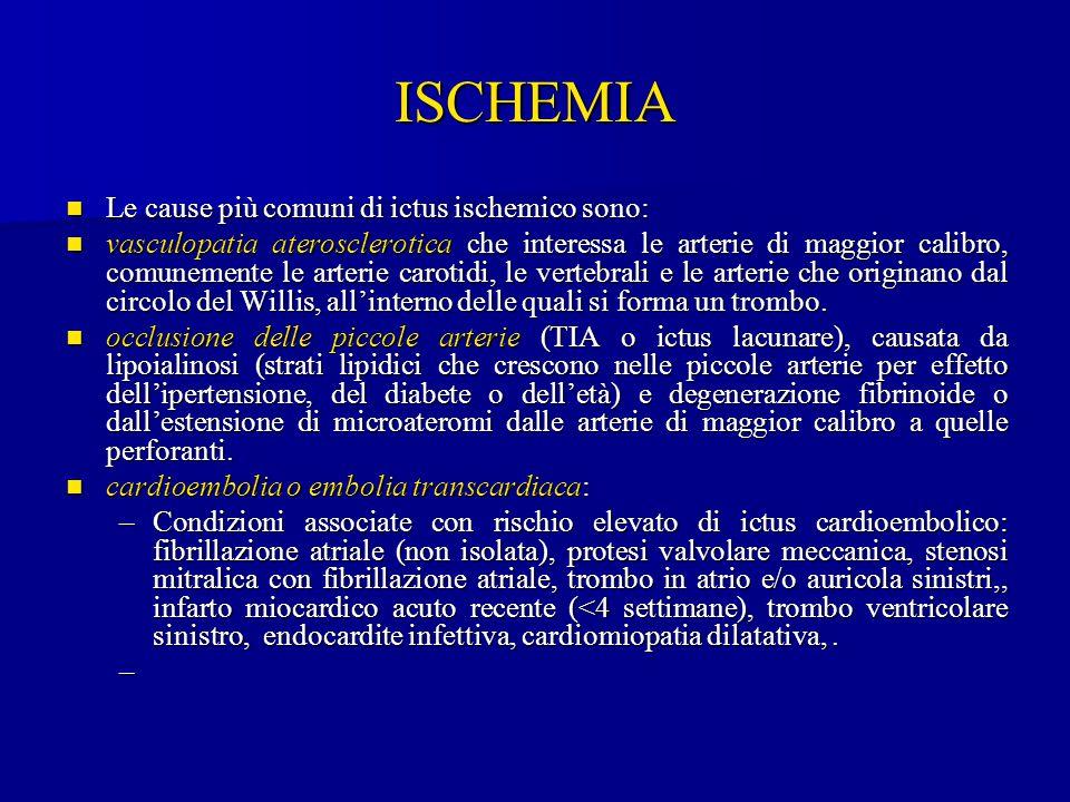 ISCHEMIA Le cause più comuni di ictus ischemico sono: Le cause più comuni di ictus ischemico sono: vasculopatia aterosclerotica che interessa le arter