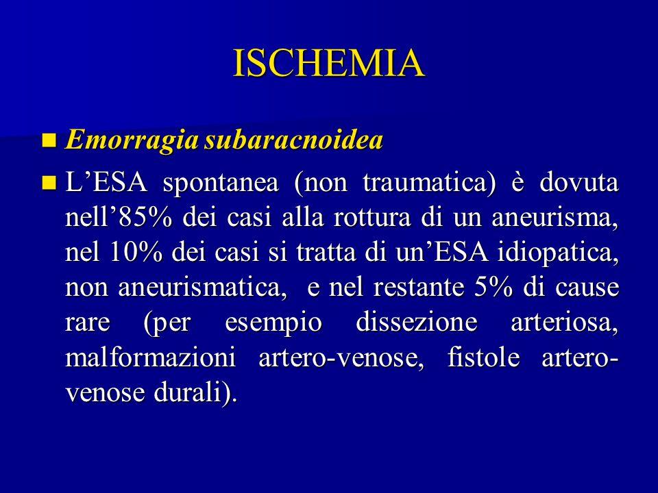 ISCHEMIA Emorragia subaracnoidea Emorragia subaracnoidea L'ESA spontanea (non traumatica) è dovuta nell'85% dei casi alla rottura di un aneurisma, nel