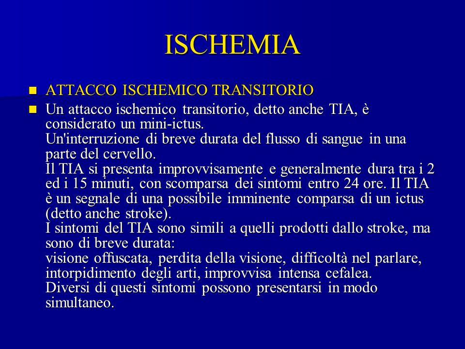 ISCHEMIA ATTACCO ISCHEMICO TRANSITORIO ATTACCO ISCHEMICO TRANSITORIO Un attacco ischemico transitorio, detto anche TIA, è considerato un mini-ictus. U