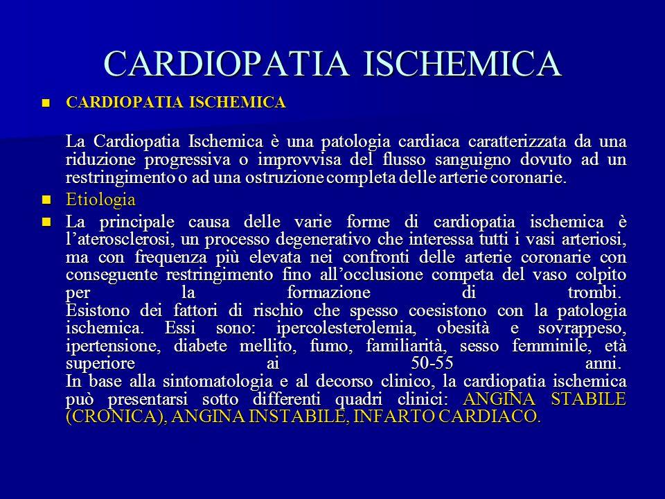 CARDIOPATIA ISCHEMICA CARDIOPATIA ISCHEMICA CARDIOPATIA ISCHEMICA La Cardiopatia Ischemica è una patologia cardiaca caratterizzata da una riduzione pr