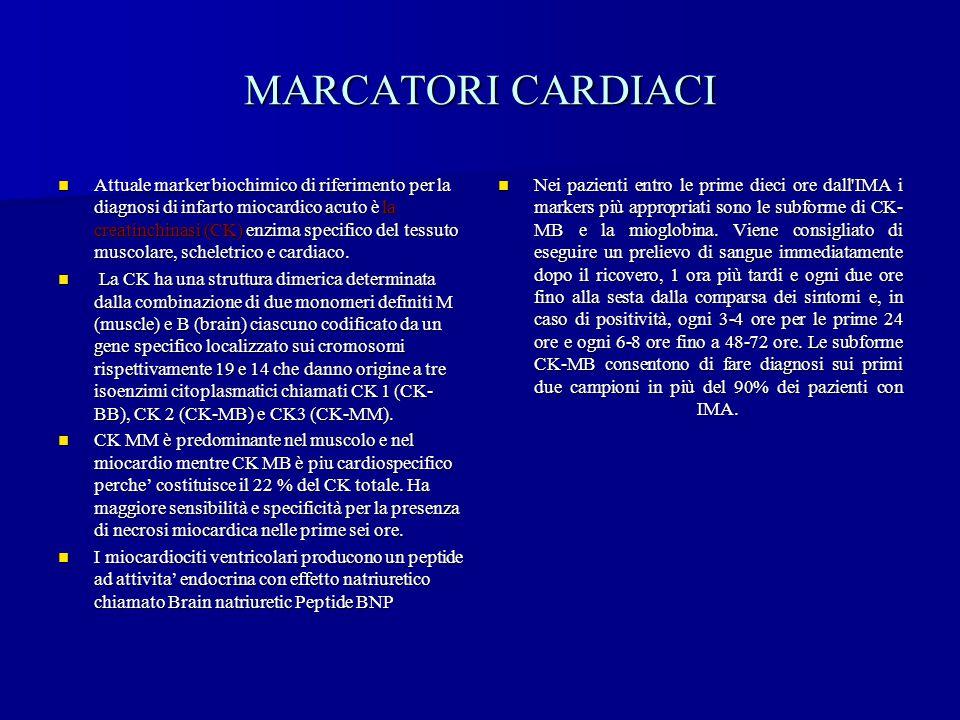 MARCATORI CARDIACI Attuale marker biochimico di riferimento per la diagnosi di infarto miocardico acuto è la creatinchinasi (CK) enzima specifico del
