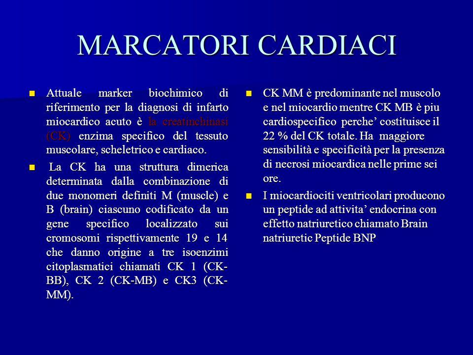 MARCATORI CARDIACI CK MM è predominante nel muscolo e nel miocardio mentre CK MB è piu cardiospecifico perche' costituisce il 22 % del CK totale. Ha m
