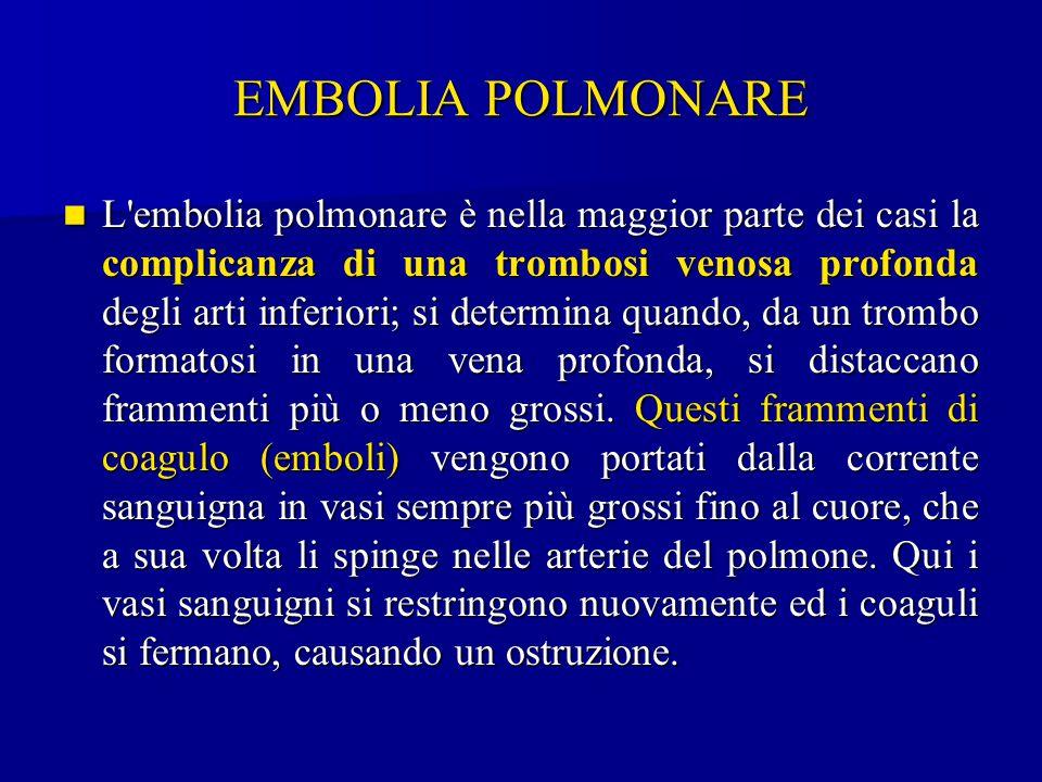 EMBOLIA POLMONARE L'embolia polmonare è nella maggior parte dei casi la complicanza di una trombosi venosa profonda degli arti inferiori; si determina