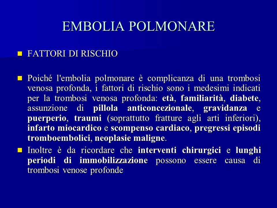 EMBOLIA POLMONARE FATTORI DI RISCHIO FATTORI DI RISCHIO Poiché l'embolia polmonare è complicanza di una trombosi venosa profonda, i fattori di rischio