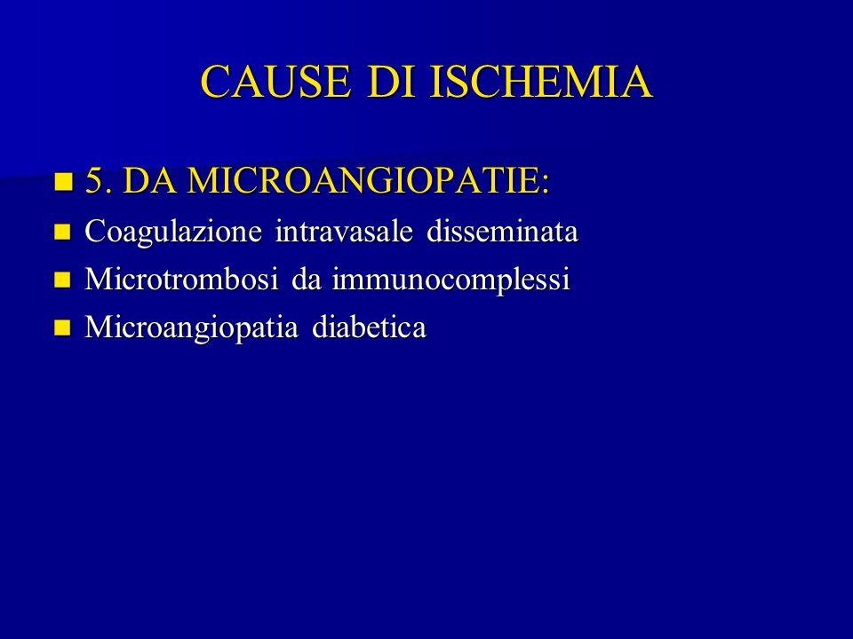CAUSE DI ISCHEMIA 5. DA MICROANGIOPATIE: 5. DA MICROANGIOPATIE: Coagulazione intravasale disseminata Coagulazione intravasale disseminata Microtrombos
