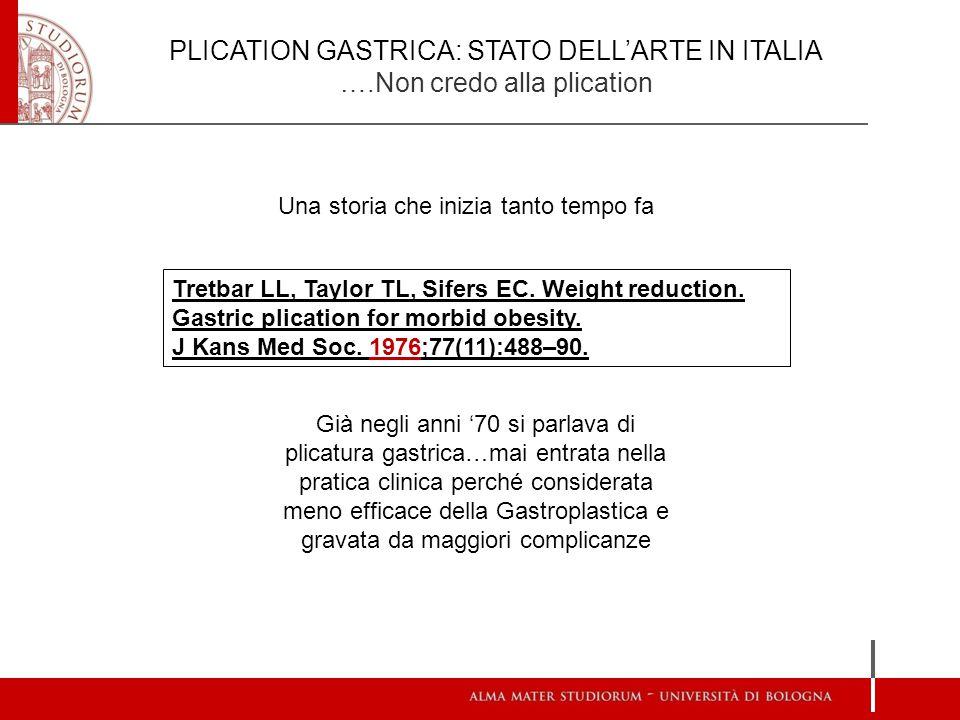 PLICATION GASTRICA: STATO DELL'ARTE IN ITALIA ….Non credo alla plication Una storia che inizia tanto tempo fa Tretbar LL, Taylor TL, Sifers EC. Weight
