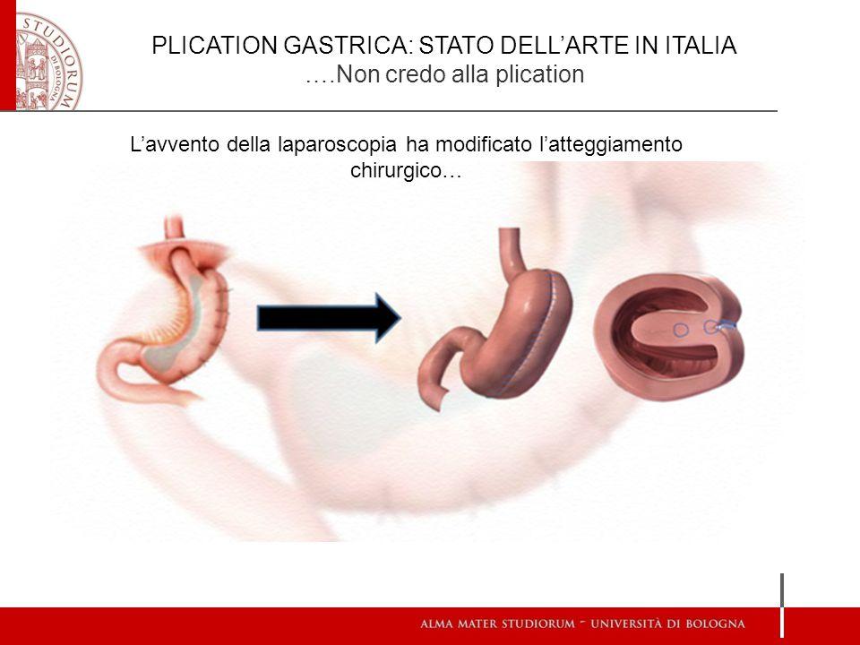PLICATION GASTRICA: STATO DELL'ARTE IN ITALIA ….Non credo alla plication L'avvento della laparoscopia ha modificato l'atteggiamento chirurgico…