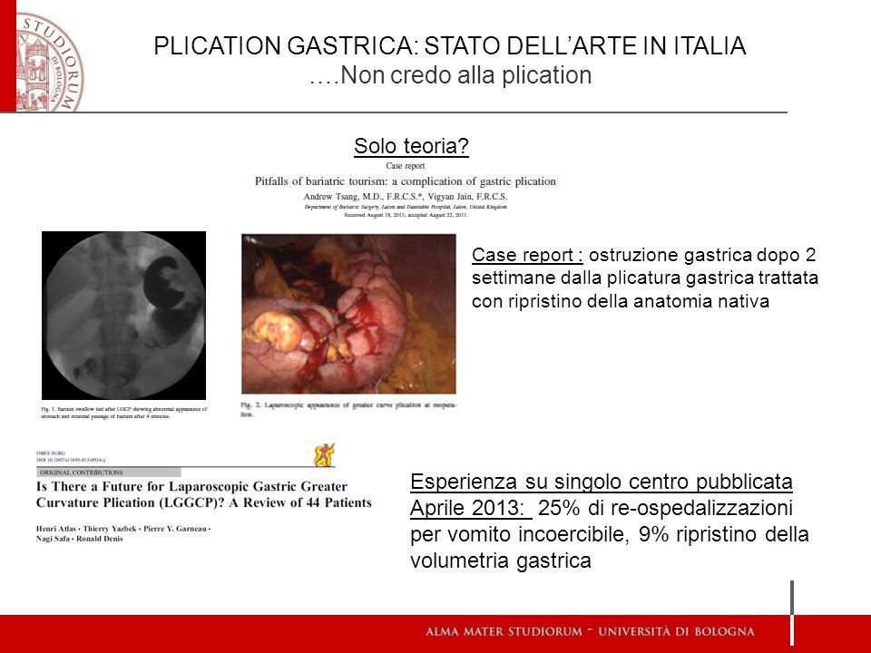 PLICATION GASTRICA: STATO DELL'ARTE IN ITALIA ….Non credo alla plication Solo teoria? Case report : ostruzione gastrica dopo 2 settimane dalla plicatu