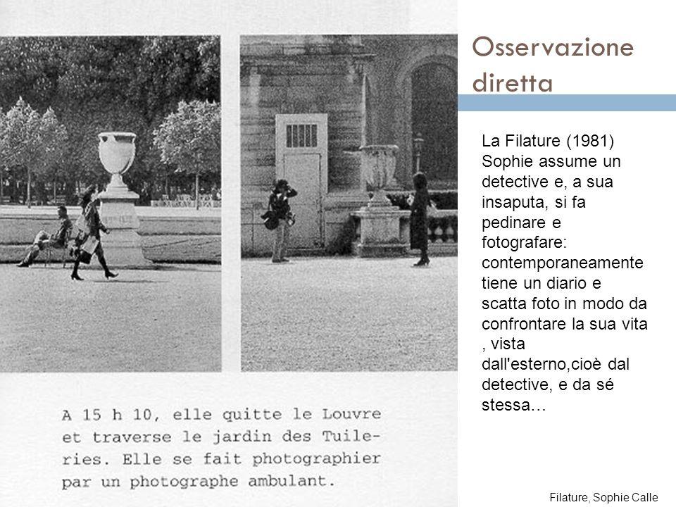 Osservazione diretta La Filature (1981) Sophie assume un detective e, a sua insaputa, si fa pedinare e fotografare: contemporaneamente tiene un diario