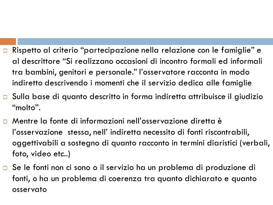 """ Rispetto al criterio """"partecipazione nella relazione con le famiglie"""" e al descrittore """"Si realizzano occasioni di incontro formali ed informali tra"""