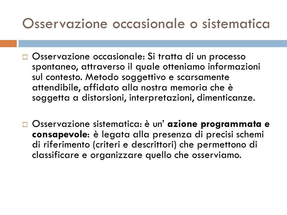 Osservazione occasionale o sistematica  Osservazione occasionale: Si tratta di un processo spontaneo, attraverso il quale otteniamo informazioni sul