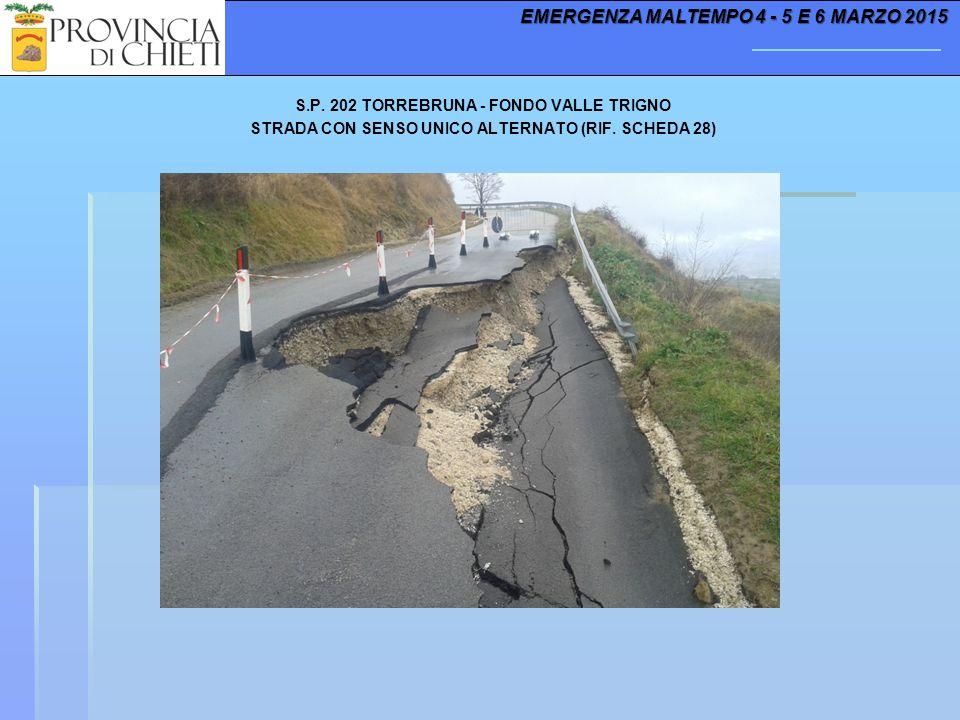 S.P. 202 TORREBRUNA - FONDO VALLE TRIGNO STRADA CON SENSO UNICO ALTERNATO (RIF. SCHEDA 28) EMERGENZA MALTEMPO 4 - 5 E 6 MARZO 2015