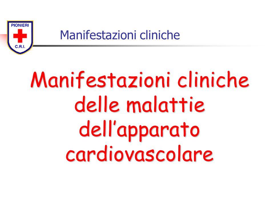 Manifestazioni cliniche Manifestazioni cliniche delle malattie dell'apparato cardiovascolare