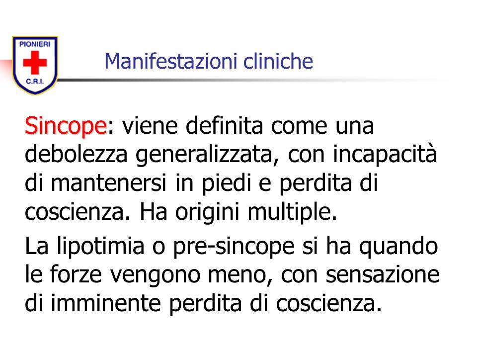Manifestazioni cliniche Sincope Sincope: viene definita come una debolezza generalizzata, con incapacità di mantenersi in piedi e perdita di coscienza