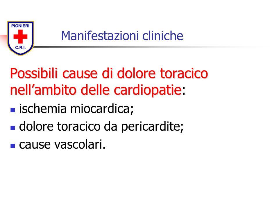 Manifestazioni cliniche Possibili cause di dolore toracico nell'ambito delle cardiopatie Possibili cause di dolore toracico nell'ambito delle cardiopa