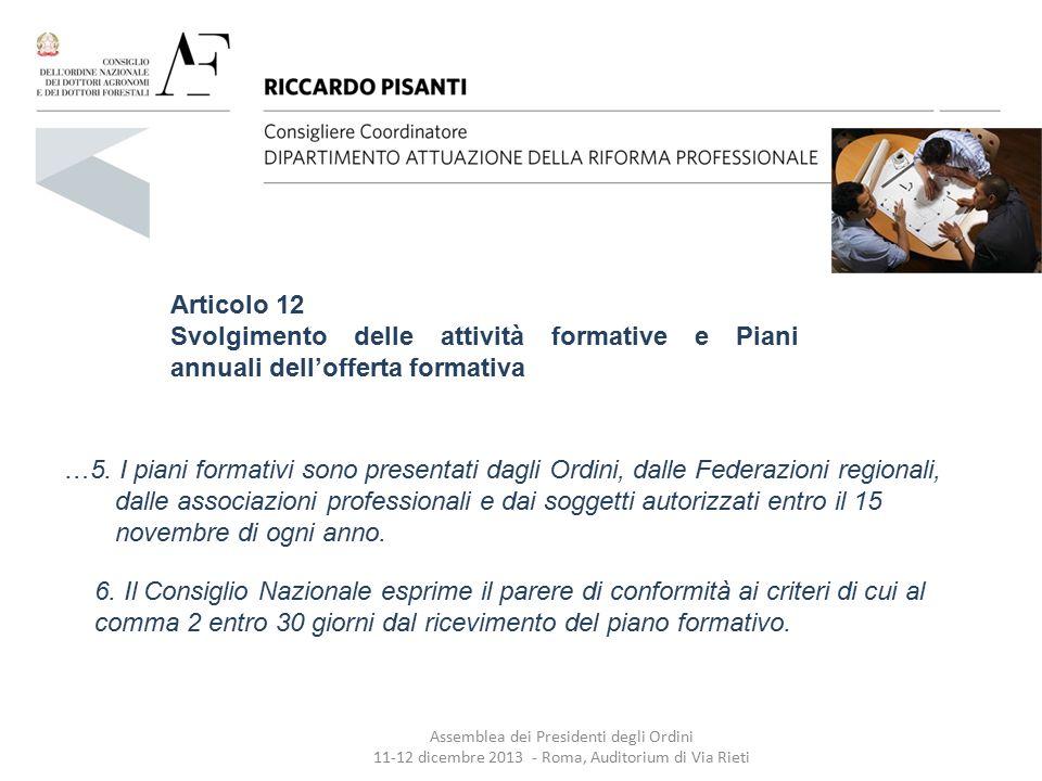 Articolo 12 Svolgimento delle attività formative e Piani annuali dell'offerta formativa …5. I piani formativi sono presentati dagli Ordini, dalle Fede