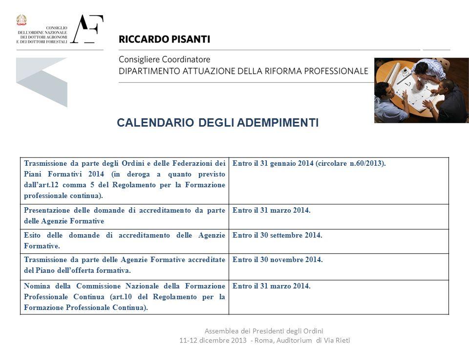 Trasmissione da parte degli Ordini e delle Federazioni dei Piani Formativi 2014 (in deroga a quanto previsto dall'art.12 comma 5 del Regolamento per l