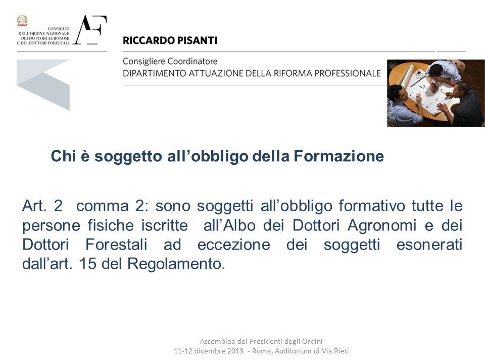 Art.15 Esoneri dall'obbligo della Formazione 1.