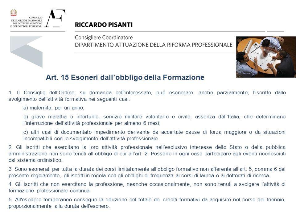 Art. 15 Esoneri dall'obbligo della Formazione 1. Il Consiglio dell'Ordine, su domanda dell'interessato, può esonerare, anche parzialmente, l'iscritto