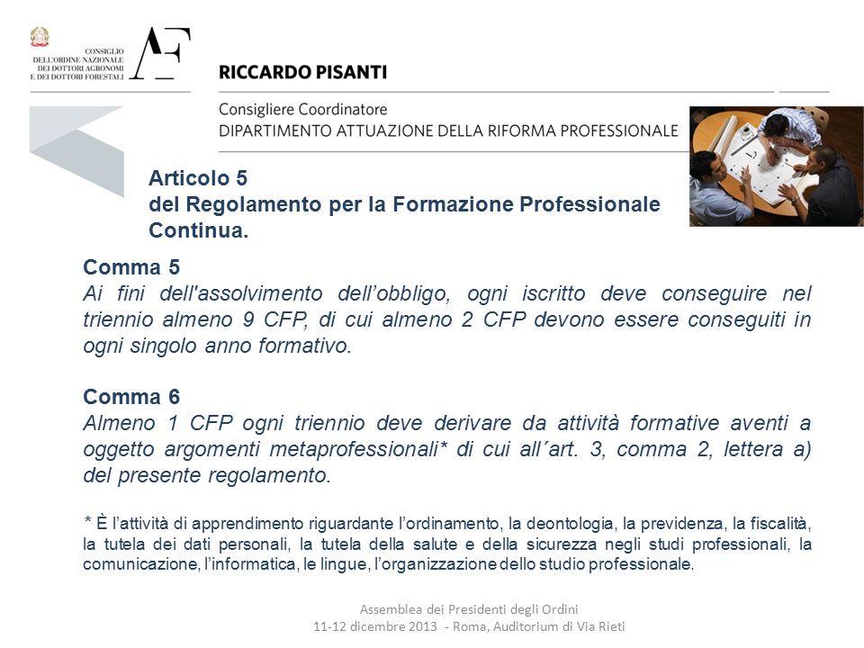 Articolo 5 del Regolamento per la Formazione Professionale Continua. Comma 5 Ai fini dell'assolvimento dell'obbligo, ogni iscritto deve conseguire nel