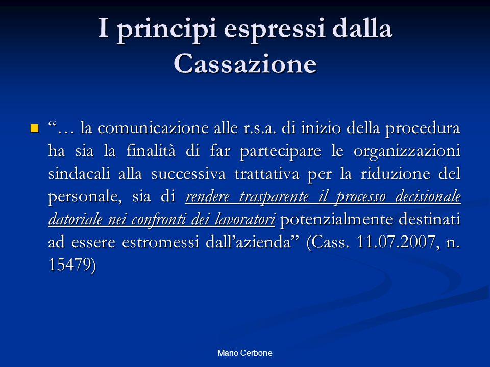 """I principi espressi dalla Cassazione """"… la comunicazione alle r.s.a. di inizio della procedura ha sia la finalità di far partecipare le organizzazioni"""