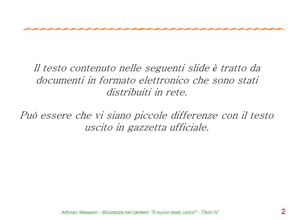 Alfonso Massaro - Sicurezza nei cantieri: