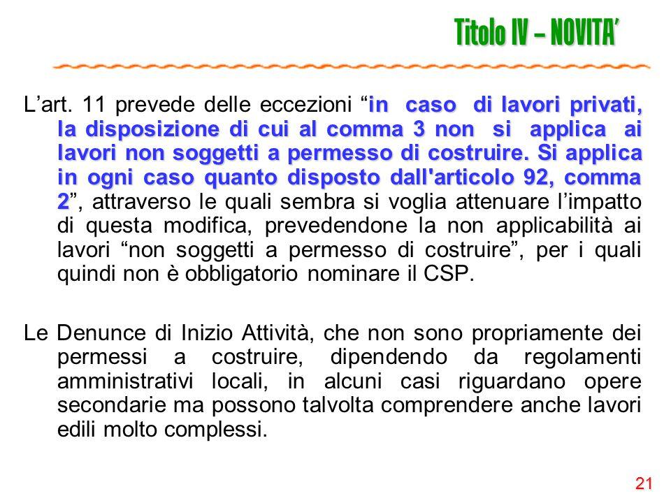 21 Titolo IV – NOVITA' in caso di lavori privati, la disposizione di cui al comma 3 non si applica ai lavori non soggetti a permesso di costruire. Si