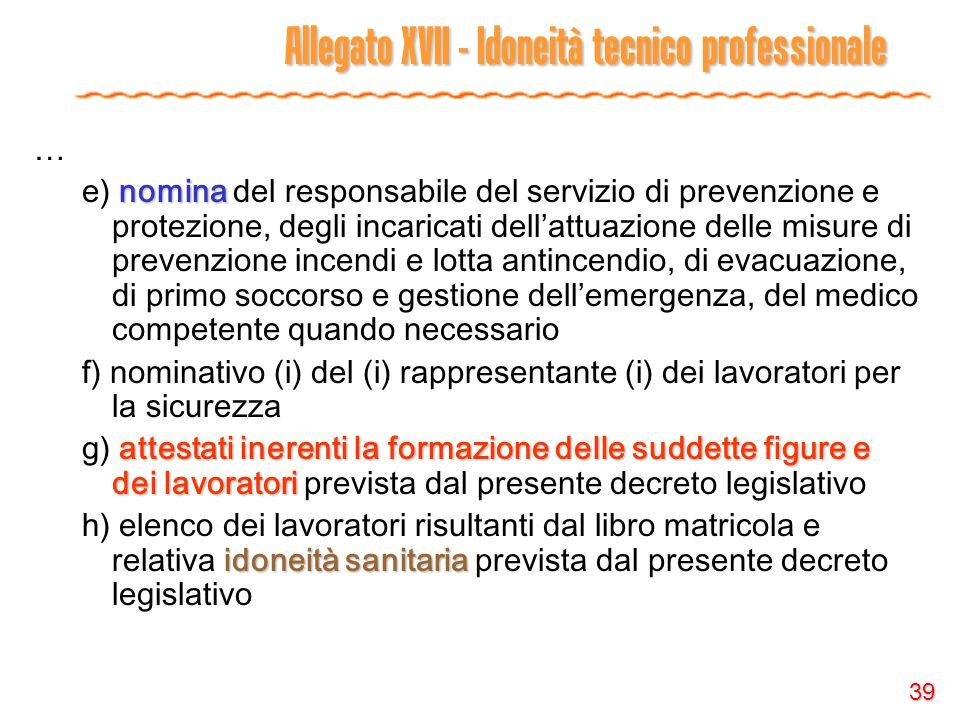 39 Allegato XVII - Idoneità tecnico professionale … nomina e) nomina del responsabile del servizio di prevenzione e protezione, degli incaricati dell'