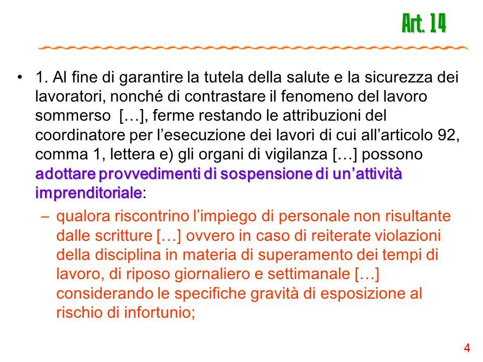 4 Art. 14 adottare provvedimenti di sospensione di un'attività imprenditoriale1. Al fine di garantire la tutela della salute e la sicurezza dei lavora