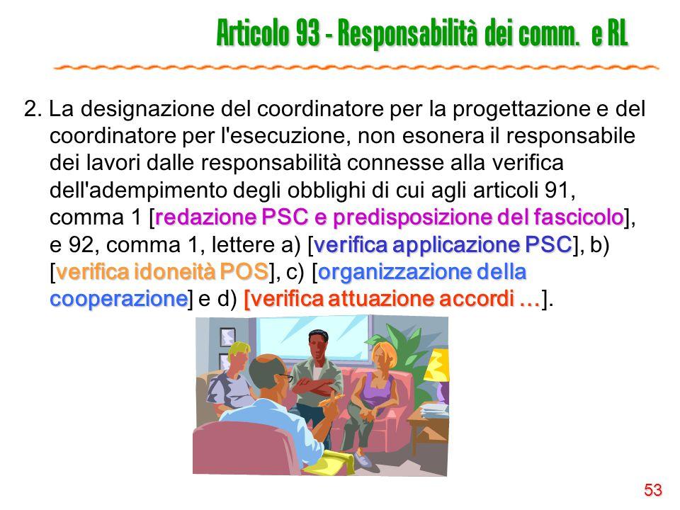 53 Articolo 93 - Responsabilità dei comm. e RL redazione PSC e predisposizione del fascicolo verifica applicazione PSC verifica idoneità POSorganizzaz
