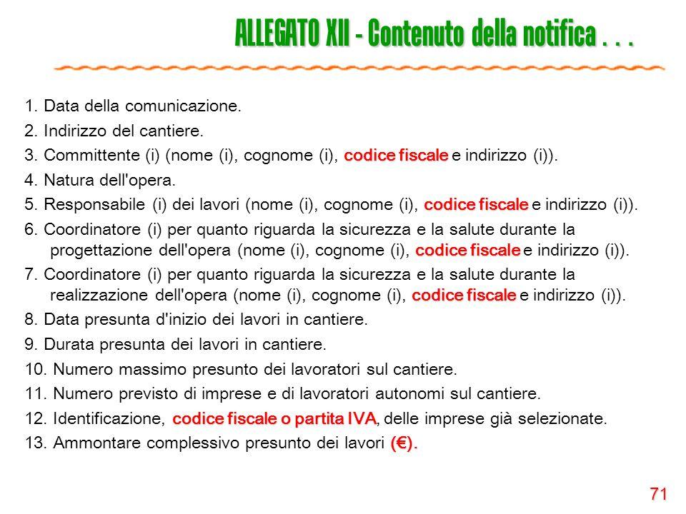 71 ALLEGATO XII - Contenuto della notifica … 1. Data della comunicazione. 2. Indirizzo del cantiere. codice fiscale 3. Committente (i) (nome (i), cogn