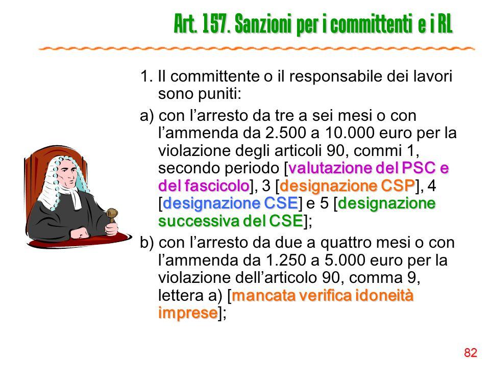82 Art. 157. Sanzioni per i committenti e i RL 1. Il committente o il responsabile dei lavori sono puniti: valutazione del PSC e del fascicolodesignaz