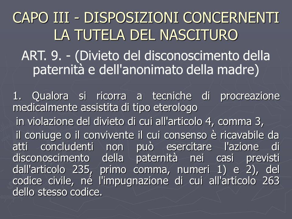 CAPO III - DISPOSIZIONI CONCERNENTI LA TUTELA DEL NASCITURO 1. Qualora si ricorra a tecniche di procreazione medicalmente assistita di tipo eterologo