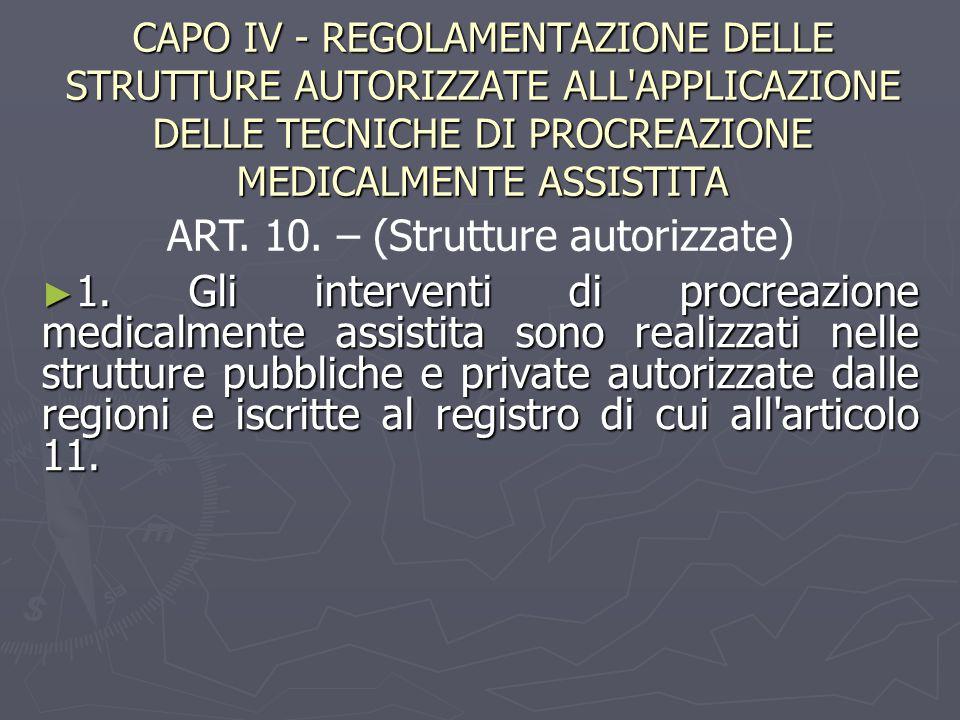 CAPO IV - REGOLAMENTAZIONE DELLE STRUTTURE AUTORIZZATE ALL APPLICAZIONE DELLE TECNICHE DI PROCREAZIONE MEDICALMENTE ASSISTITA ► 1.