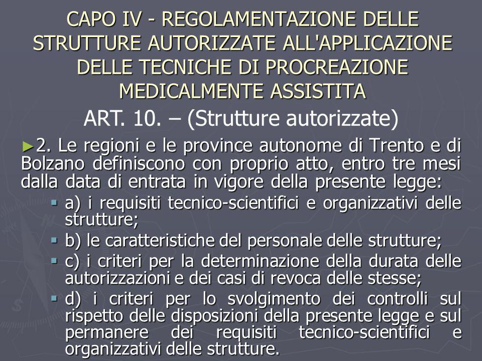 CAPO IV - REGOLAMENTAZIONE DELLE STRUTTURE AUTORIZZATE ALL'APPLICAZIONE DELLE TECNICHE DI PROCREAZIONE MEDICALMENTE ASSISTITA ► 2. Le regioni e le pro