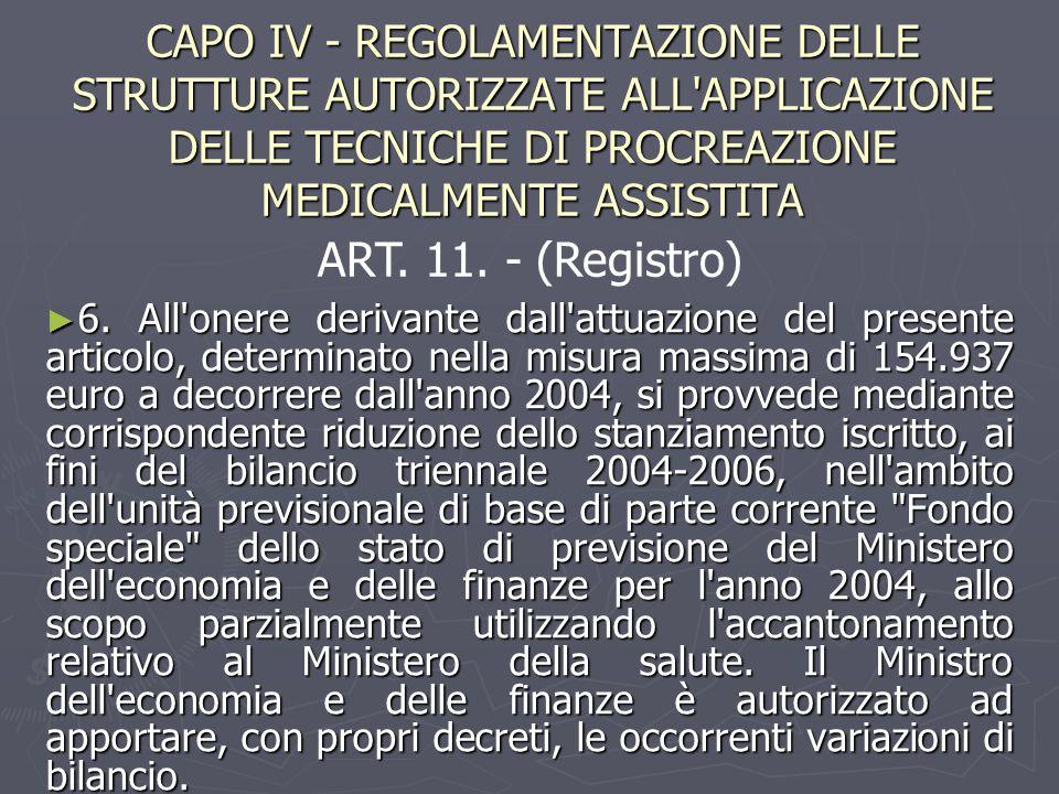 CAPO IV - REGOLAMENTAZIONE DELLE STRUTTURE AUTORIZZATE ALL APPLICAZIONE DELLE TECNICHE DI PROCREAZIONE MEDICALMENTE ASSISTITA ► 6.