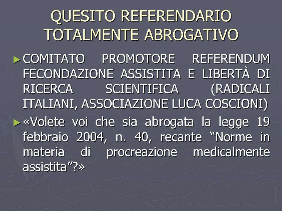 QUESITO REFERENDARIO TOTALMENTE ABROGATIVO ► COMITATO PROMOTORE REFERENDUM FECONDAZIONE ASSISTITA E LIBERTÀ DI RICERCA SCIENTIFICA (RADICALI ITALIANI, ASSOCIAZIONE LUCA COSCIONI) ► «Volete voi che sia abrogata la legge 19 febbraio 2004, n.