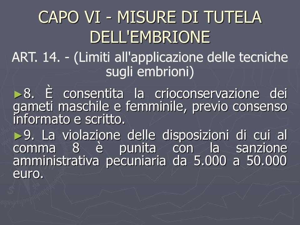 CAPO VI - MISURE DI TUTELA DELL'EMBRIONE ► 8. È consentita la crioconservazione dei gameti maschile e femminile, previo consenso informato e scritto.