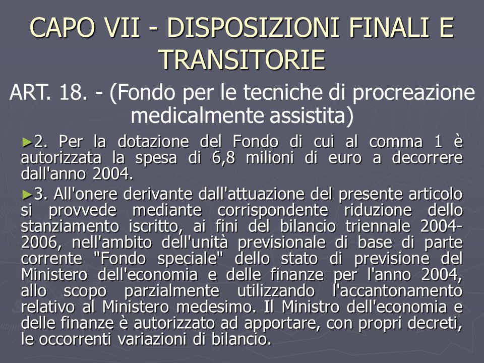 CAPO VII - DISPOSIZIONI FINALI E TRANSITORIE ► 2. Per la dotazione del Fondo di cui al comma 1 è autorizzata la spesa di 6,8 milioni di euro a decorre