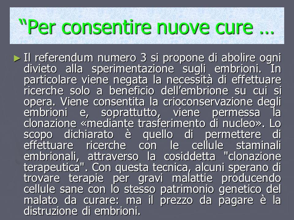 """""""Per consentire nuove cure … ► Il referendum numero 3 si propone di abolire ogni divieto alla sperimentazione sugli embrioni. In particolare viene neg"""