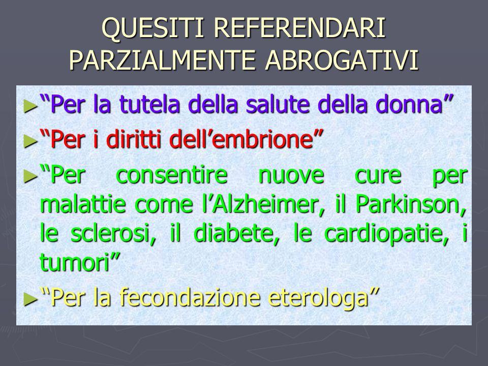 QUESITI REFERENDARI PARZIALMENTE ABROGATIVI ► Per la tutela della salute della donna ► Per i diritti dell'embrione ► Per consentire nuove cure per malattie come l'Alzheimer, il Parkinson, le sclerosi, il diabete, le cardiopatie, i tumori ► Per la fecondazione eterologa