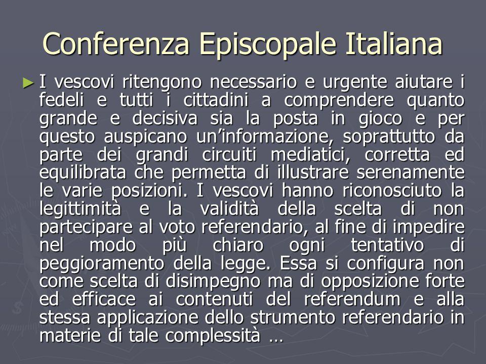 Conferenza Episcopale Italiana ► I vescovi ritengono necessario e urgente aiutare i fedeli e tutti i cittadini a comprendere quanto grande e decisiva