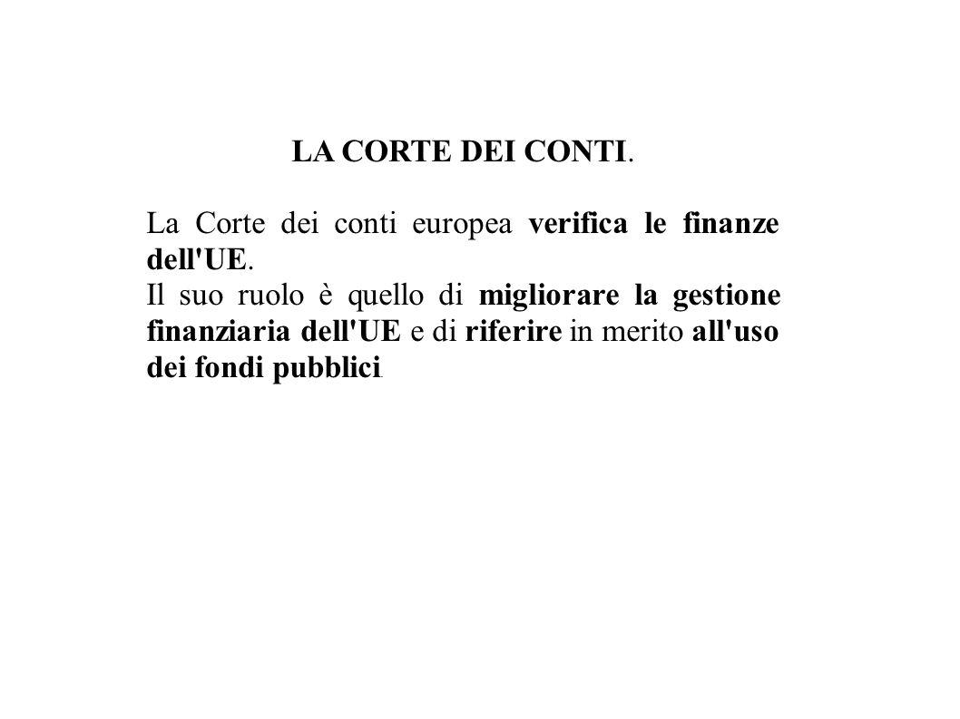 LA CORTE DEI CONTI.La Corte dei conti europea verifica le finanze dell UE.