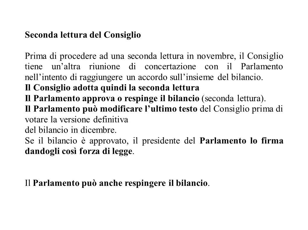 Seconda lettura del Consiglio Prima di procedere ad una seconda lettura in novembre, il Consiglio tiene un'altra riunione di concertazione con il Parlamento nell'intento di raggiungere un accordo sull'insieme del bilancio.