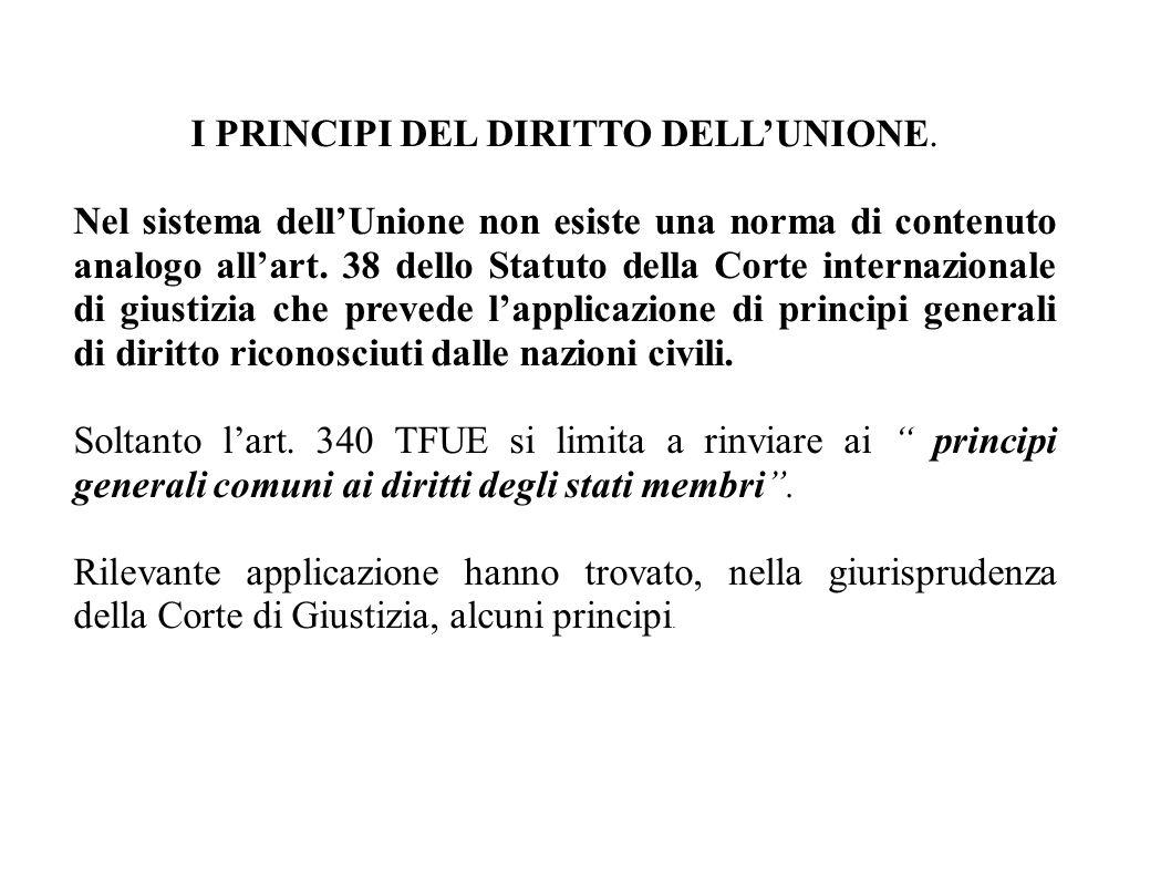 I PRINCIPI DEL DIRITTO DELL'UNIONE.