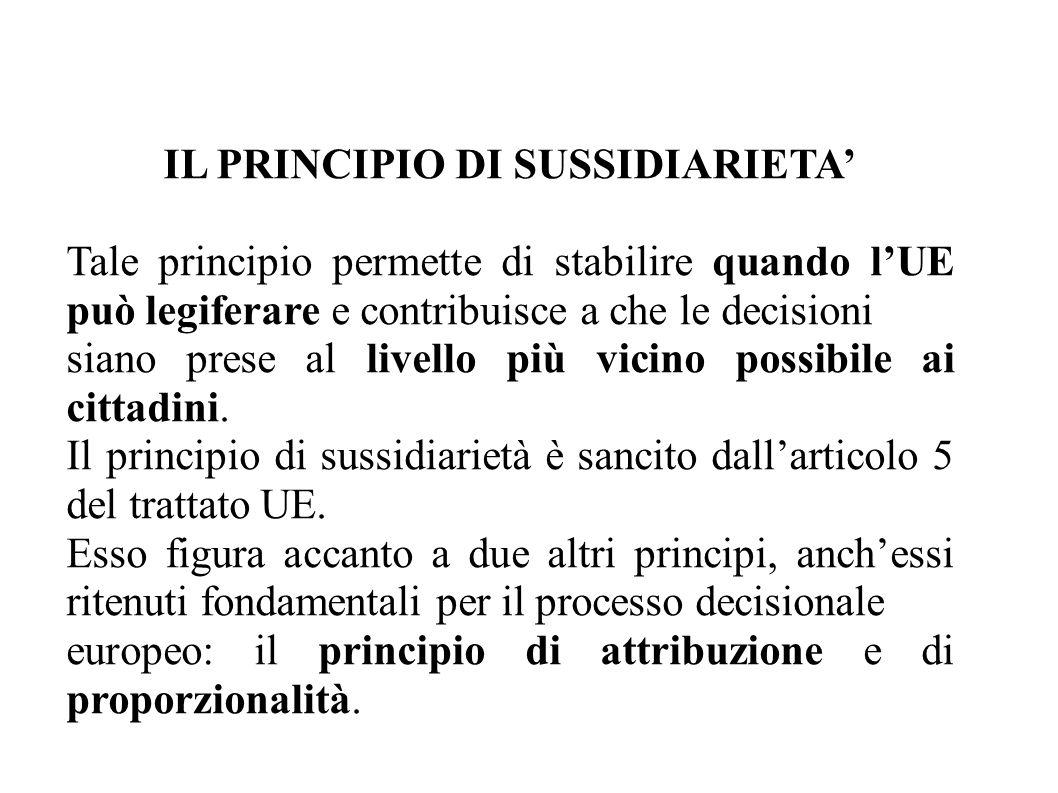 IL PRINCIPIO DI SUSSIDIARIETA' Tale principio permette di stabilire quando l'UE può legiferare e contribuisce a che le decisioni siano prese al livello più vicino possibile ai cittadini.