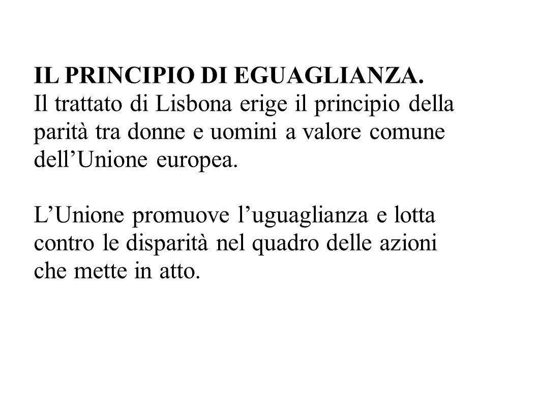 IL PRINCIPIO DI EGUAGLIANZA.