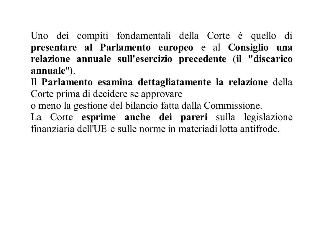 Uno dei compiti fondamentali della Corte è quello di presentare al Parlamento europeo e al Consiglio una relazione annuale sull esercizio precedente (il discarico annuale ).